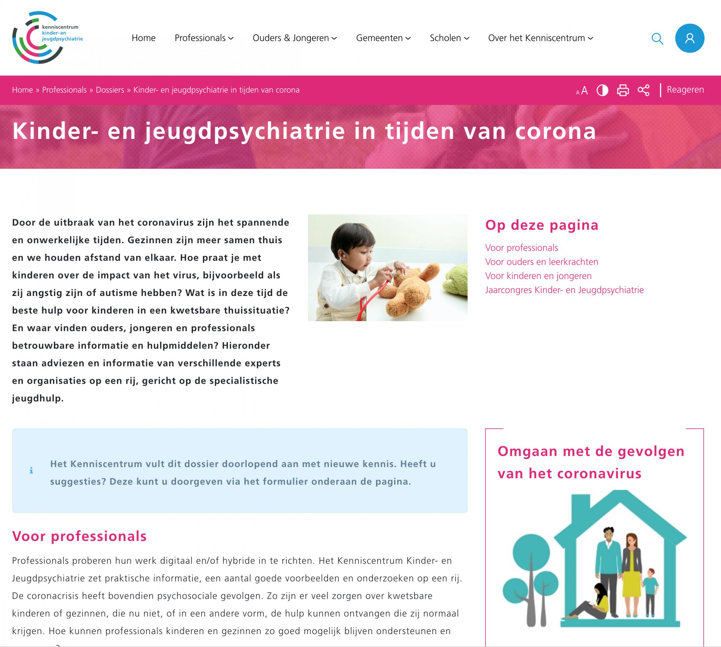 Webpagina met informatie voor professionals, ouders, leerkrachten en jeugd.